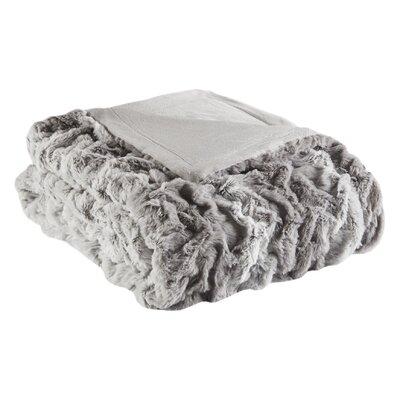 Elliott Fur Throw Color: Gray Stripe
