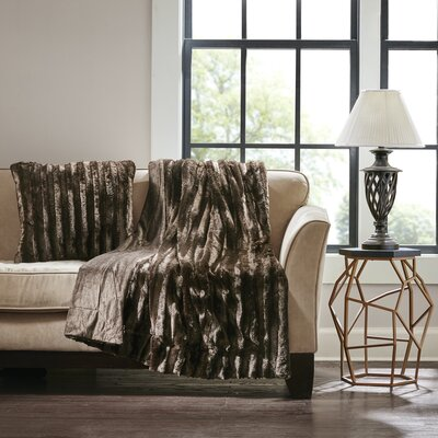 Bolland Faux Fur Throw Pillow Color: Brown