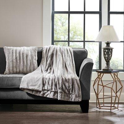 Bolland Faux Fur Throw Pillow Color: Gray