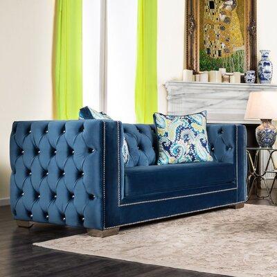 Ama Tuxedo Chesterfield Loveseat Upholstery: Cobalt Blue
