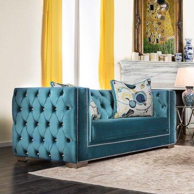 Ama Tuxedo Chesterfield Loveseat Upholstery: Turquoise