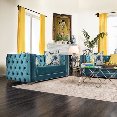 Ama Tuxedo Chesterfield Sofa Upholstery: Turquoise