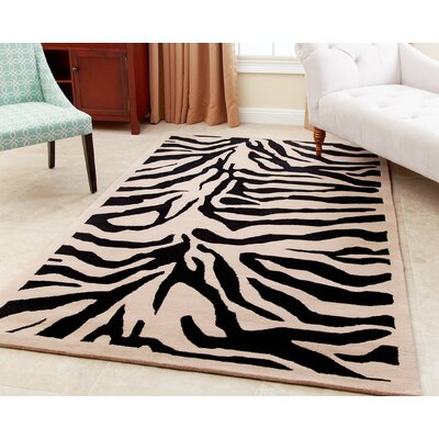 Malonne Hand-Tufted Black Area Rug Rug Size: 5 x 8