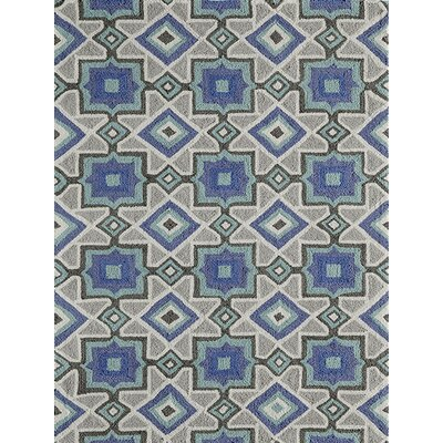 Anwen Hand-Hooked�Indigo Area Rug Rug Size: Rectangle 76 x 96