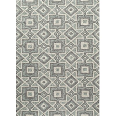 Anwen Hand-Hooked Gray Area Rug Rug Size: Rectangle 36 x 56