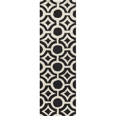 Agnese Hand-Hooked Black Area Rug Rug Size: Rectangle 2 x 3