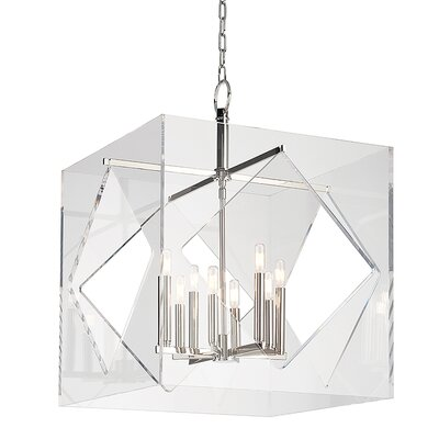 Rooker 8-Light Foyer Pendant Finish: Polished Nickel, Size: 32 H x 24 W x 24 D