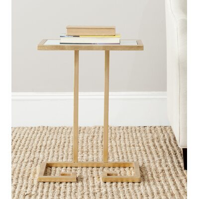 Binney End Table Color: Gold / White