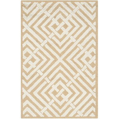 Fareham Beige/White Area Rug Rug Size: 56 x 86