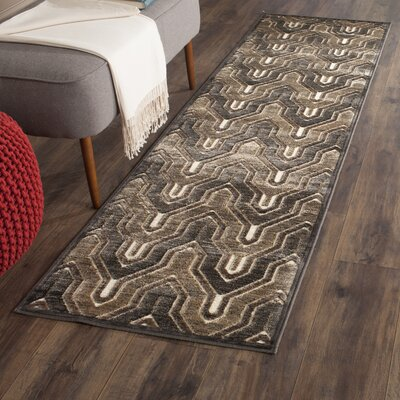 Gabbro Soft Anthracite/Cream Area Rug Rug Size: Runner 22 x 8