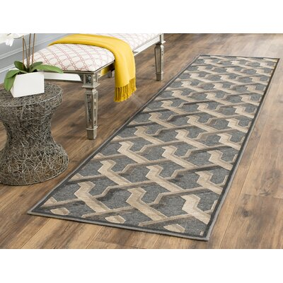 Gabbro Soft Anthracite Area Rug Rug Size: Runner 22 x 8