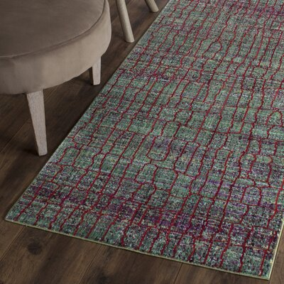 Manchester Green/Red Area Rug Rug Size: Runner 2'3