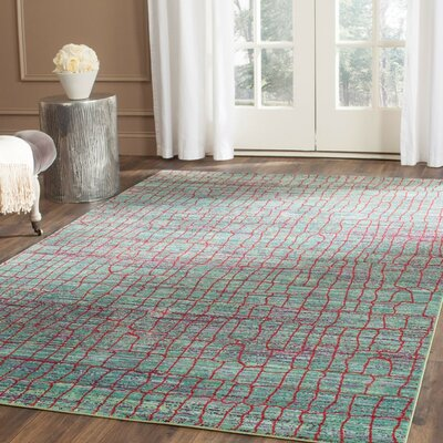 Manchester Green/Red Area Rug Rug Size: 9 x 12