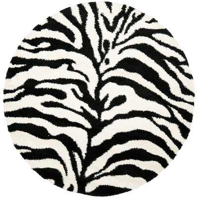 Davey Ivory/Black Outdoor Area Rug Rug Size: Round 5