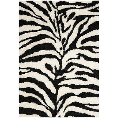 Davey Ivory/Black Outdoor Area Rug Rug Size: Rectangle 86 x 12