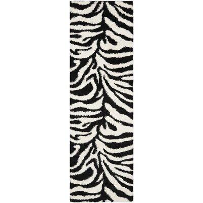 Davey Ivory/Black Outdoor Area Rug Rug Size: Runner 23 x 11