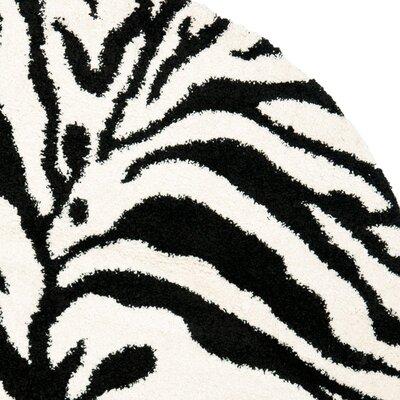 Davey Ivory/Black Area Rug Rug Size: Round 5