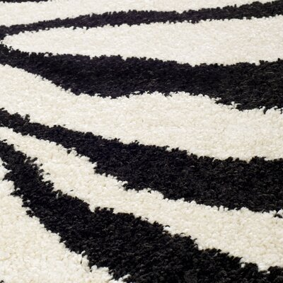 Stellan Ivory/Black Area Rug Rug Size: Square 4 x 4