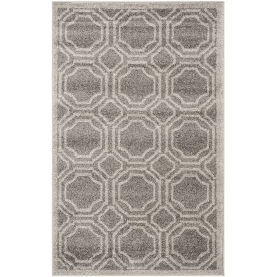 Maritza Grey & Light Grey Indoor/Outdoor Area Rug Rug Size: 4 x 6