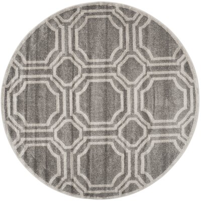 Maritza Grey & Light Grey Indoor/Outdoor Area Rug Rug Size: Round 7