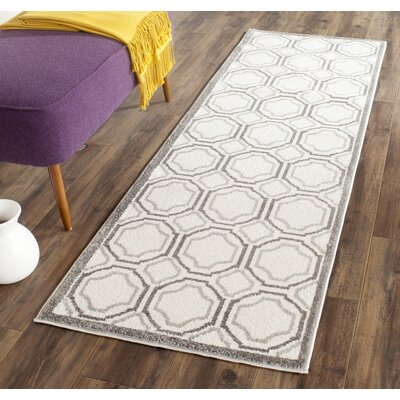 Currey Ivory & Light Grey Indoor/Outdoor Area Rug Rug Size: Runner 23 x 7