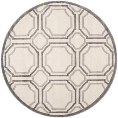 Currey Ivory & Light Grey Indoor/Outdoor Area Rug Rug Size: Round 5