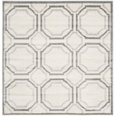Maritza Ivory & Cream Area Rug Rug Size: Square 5