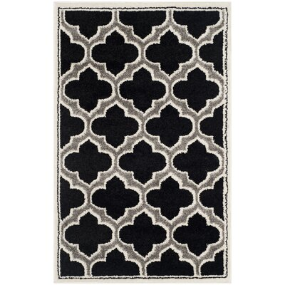 Currey Anthracite/Ivory Outdoor Area Rug Rug Size: 26 x 4