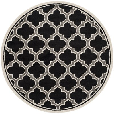 Maritza Black/Gray Indoor/Outdoor Area Rug Rug Size: Round 7
