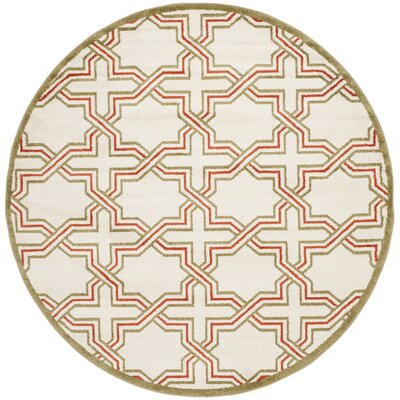 Currey Ivory/Light Green Outdoor Area Rug Rug Size: Round 7