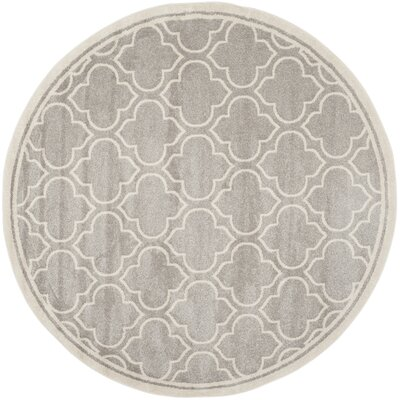 Maritza Light Gray/Ivory Outdoor Area Rug Rug Size: Round 7