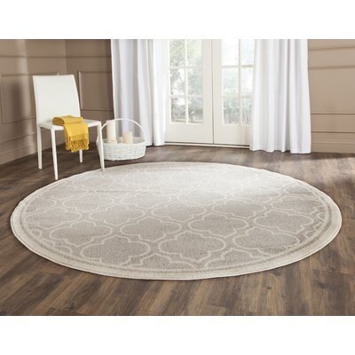 Maritza Light Gray/Ivory Outdoor Area Rug Rug Size: Round 5
