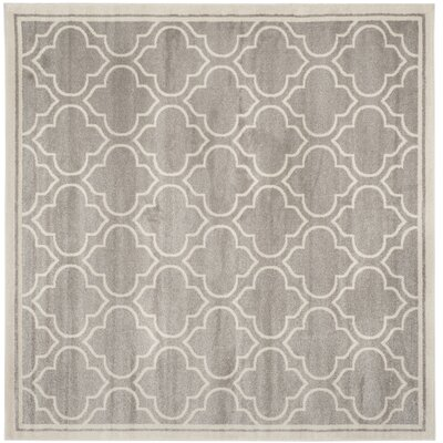 Maritza Light Gray/Ivory Outdoor Area Rug Rug Size: Square 5