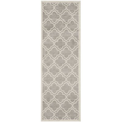 Maritza Light Gray/Ivory Outdoor Area Rug Rug Size: Runner 23 x 9
