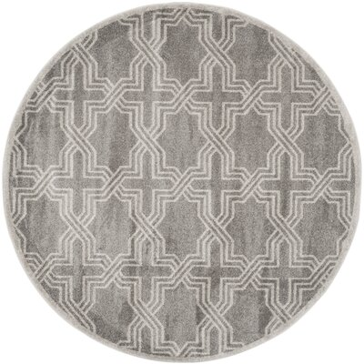 Maritza Grey/Light Grey Outdoor Area Rug Rug Size: Round 7
