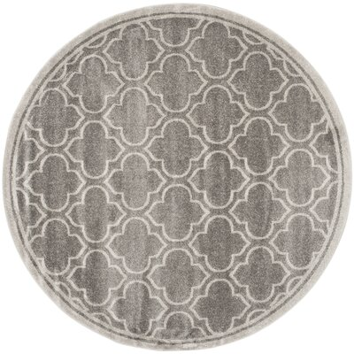 Maritza Gray/Light Gray Outdoor Area Rug Rug Size: Round 5