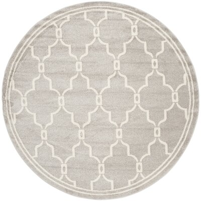Maritza Light Gray/Ivory Indoor/Outdoor Area Rug Rug Size: Round 5
