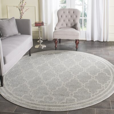 Maritza Light Grey/Ivory Outdoor Area Rug Rug Size: Round 5