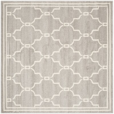 Maritza Light Grey/Ivory Outdoor Area Rug Rug Size: Square 9