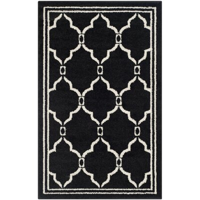 Maritza Geometric Anthracite/Ivory Outdoor Area Rug Rug Size: Rectangle 26 x 4
