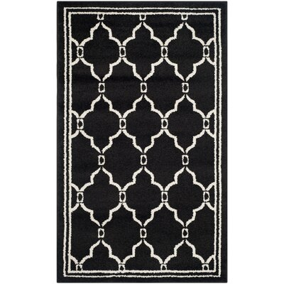 Maritza Geometric Anthracite/Ivory Outdoor Area Rug Rug Size: Rectangle 3 x 5