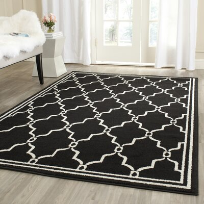 Maritza Geometric Anthracite/Ivory Outdoor Area Rug Rug Size: Rectangle 9 x 12