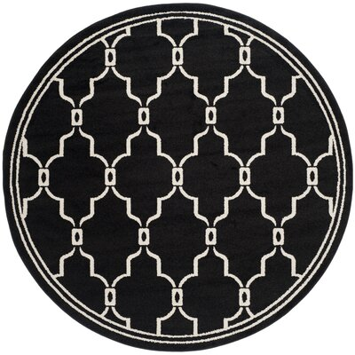 Maritza Geometric Anthracite/Ivory Outdoor Area Rug Rug Size: Round 7