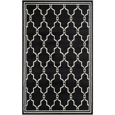 Maritza Geometric Anthracite/Ivory Outdoor Area Rug Rug Size: 5 x 8