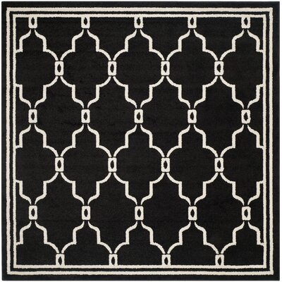 Maritza Geometric Anthracite/Ivory Outdoor Area Rug Rug Size: Square 7