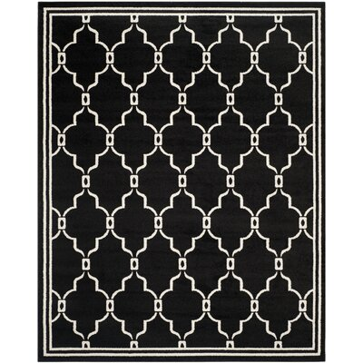 Maritza Geometric Anthracite/Ivory Outdoor Area Rug Rug Size: 8 x 10