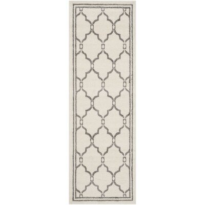 Maritza Ivory/Grey Outdoor Area Rug Rug Size: Runner 23 x 9