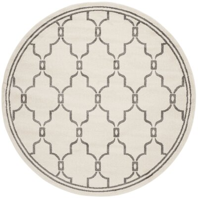 Currey Ivory/Grey Outdoor Area Rug Rug Size: Round 5