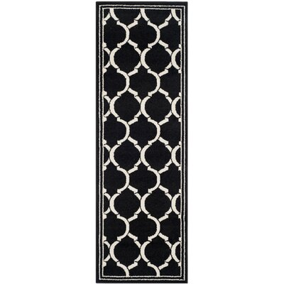 Maritza Anthracite/Ivory Outdoor Area Rug Rug Size: Runner 23 x 7