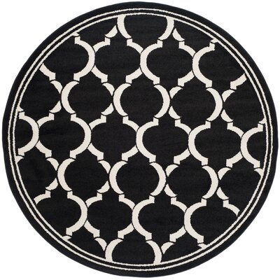 Maritza Anthracite/Ivory Outdoor Area Rug Rug Size: Round 7